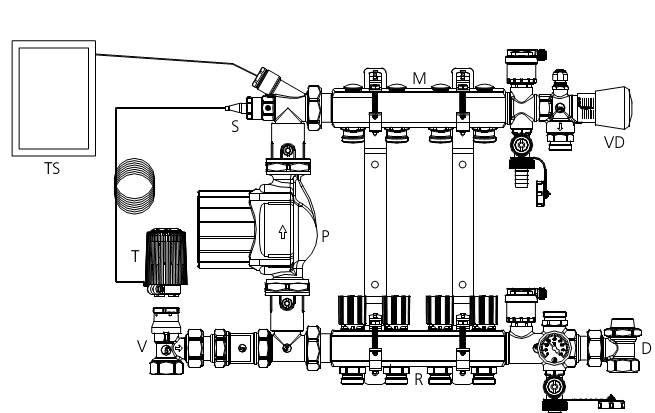 Клапаны V и D представляют